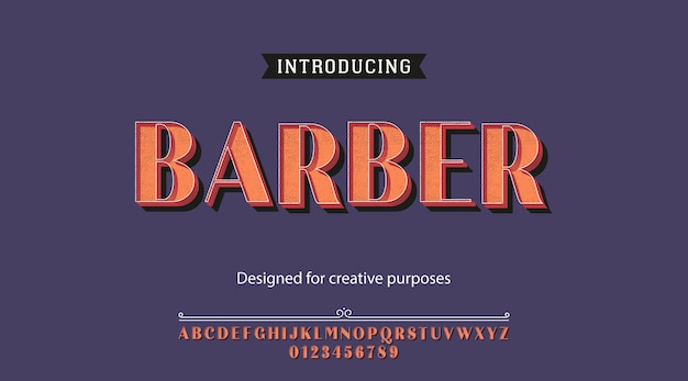 Barber typeface. conception du type
