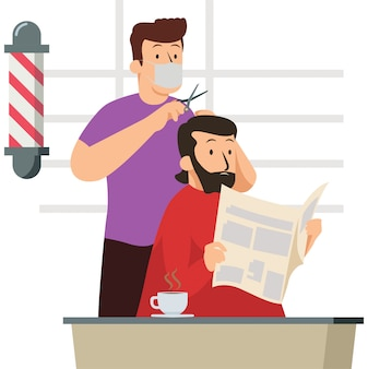 Barberman travaille à nouveau comme d'habitude pendant la nouvelle normale dans un salon de coiffure tout en continuant à utiliser un masque médical