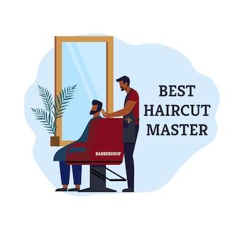 Barbershop best haircut master. spécialiste expérimenté leurs services pour aider les clients à changer de style. le maître explique et montre au visiteur ce qu'il fait. illustration vectorielle.