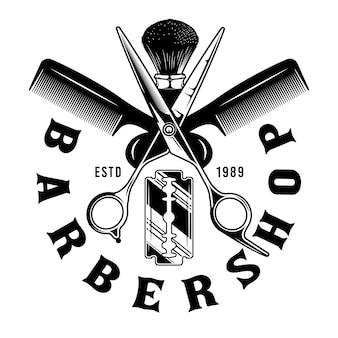 Barbershop ciseaux peigne et brosse emblème