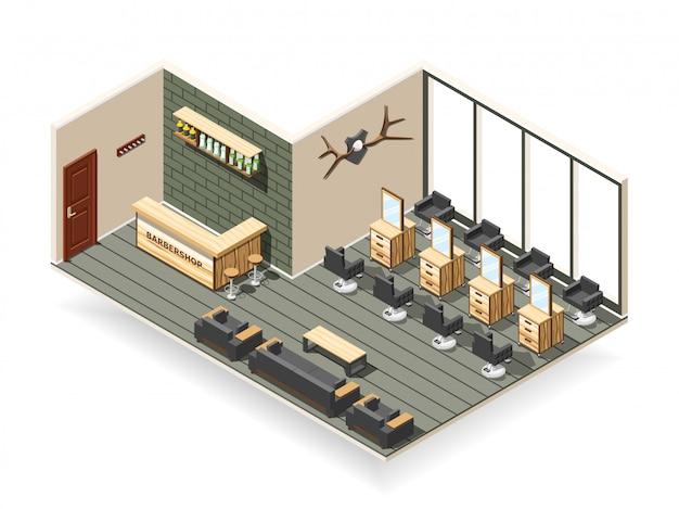 Barbershop interior composition isométrique