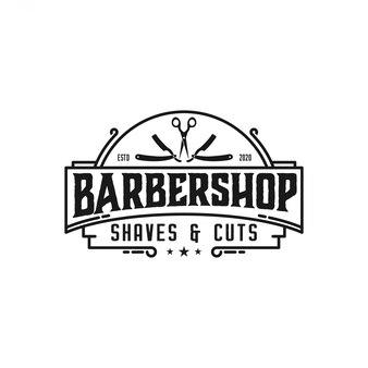 Barbershop logo vintage élégant avec des ciseaux et des éléments de rasoir