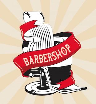 Barbershop vintage emblème rouge et blanc