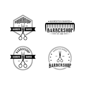 Barbershop vintage set logo design modèle