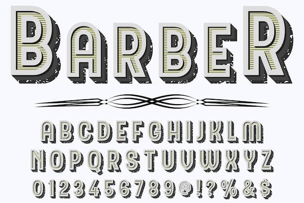 Barbier de conception étiquette typographie typographie vintage
