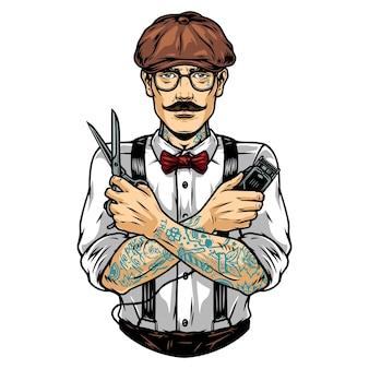 Barbier élégant en casquette irlandaise et lunettes avec des ciseaux de tatouages et une tondeuse à cheveux électrique illustration vectorielle isolée