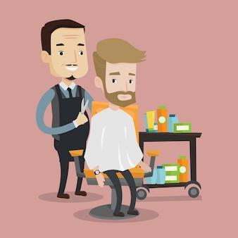 Barbier faisant la coupe de cheveux au jeune homme.