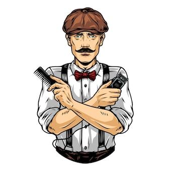 Barbier moustachu en casquette irlandaise avec peigne et tondeuse à cheveux en illustration vectorielle isolée de style vintage