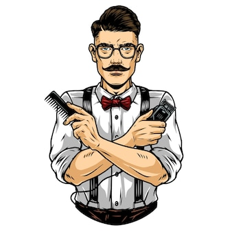 Barbier moustachu à la mode dans des verres portant un pantalon de cravate avec des bretelles et tenant un peigne et une tondeuse à cheveux dans une illustration vectorielle isolée de style vintage
