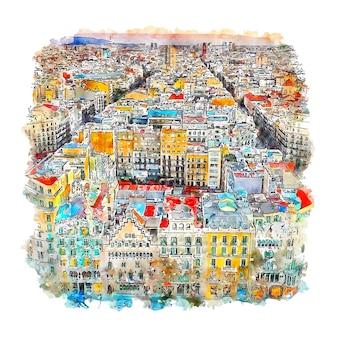 Barcelone espagne croquis aquarelle illustration dessinée à la main