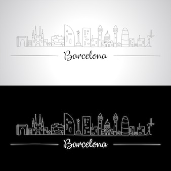 Barcelone skyline avec tous les bâtiments célèbres