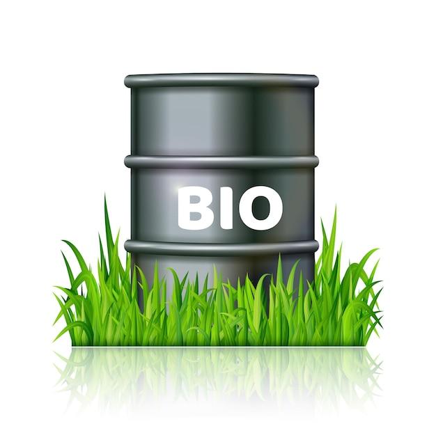 Baril en métal avec du biocarburant sur l'herbe verte