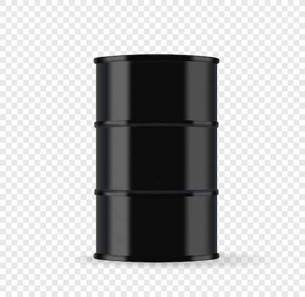 Baril en métal noir avec illustration vectorielle de pétrole isolé sur fond transparent