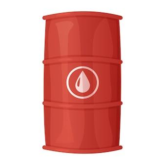 Baril de pétrole en acier rouge dans un style réaliste de dessin animé isolé sur blanc