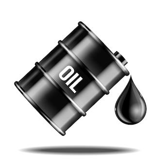 Baril de pétrole noir avec goutte d'huile isolé sur blanc