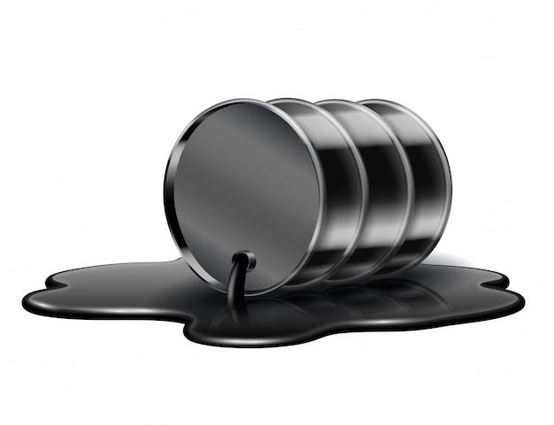 Le baril de pétrole noir se trouve dans une flaque de pétrole brut déversée. isolé