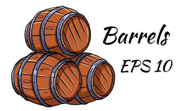 Baril pour vin ou bière. illustration vectorielle. isolé sur fond blanc.