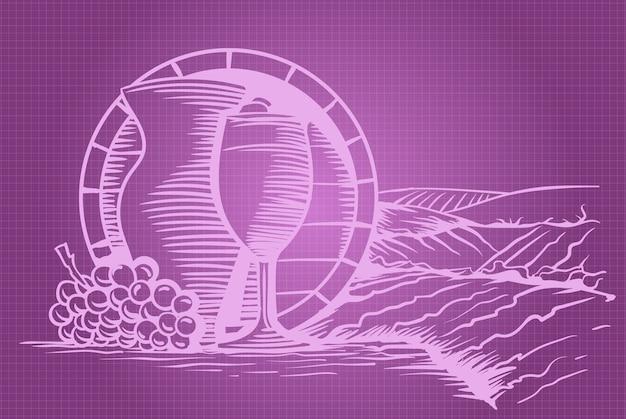 Baril de raisin de vin, verre et pichet