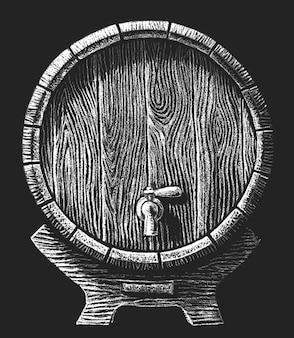 Baril avec robinet dessiné sur le tableau