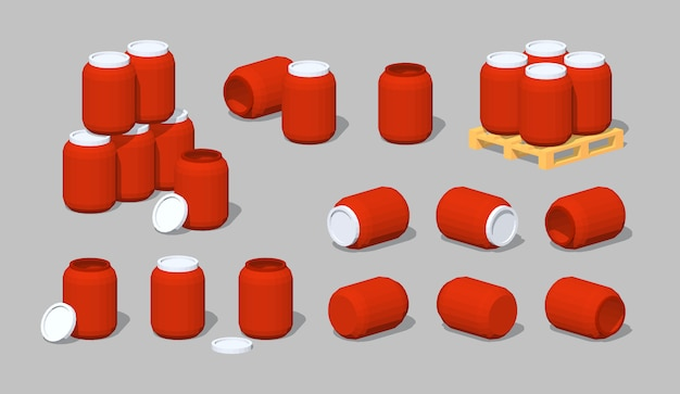 Barils 3d lowpoly en plastique rouge