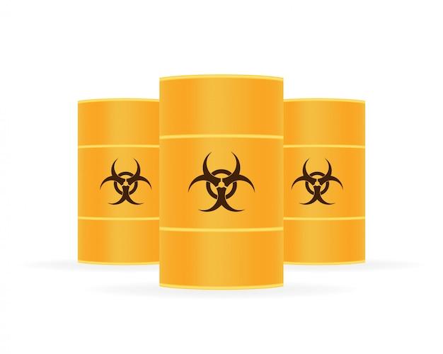 Barils de déchets biologiques dangereux, déchets radioactifs.