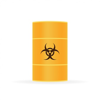 Barils de déchets biologiques, déchets radioactifs sur blanc.