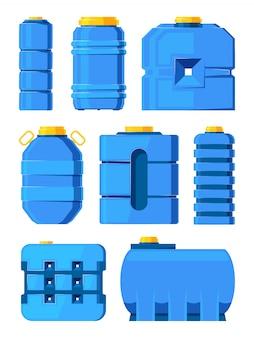 Barils d'eau. différents réservoirs d'eau isolés