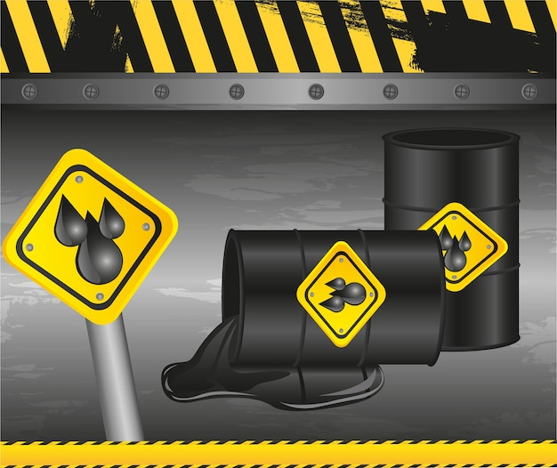 Barils de pétrole sur fond grunge
