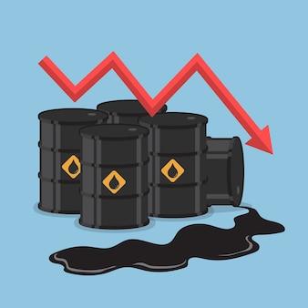 Barils de pétrole et graphique de la tendance baissière