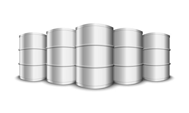 Barils de pétrole en métal isolé sur fond blanc, illustration vectorielle