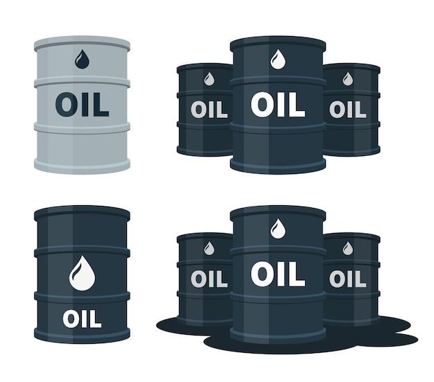 Barils de pétrole sertis d'illustration de carburant.