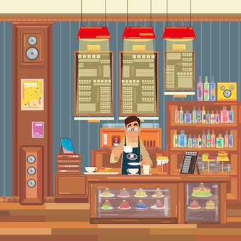 Barista crée une boisson au café dans un intérieur de café.