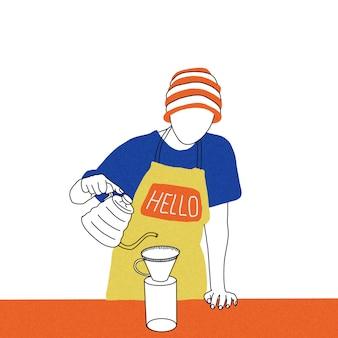 Le barista prépare du café
