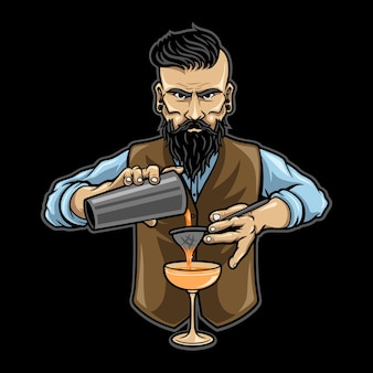 Barman de caractère vecteur manpremium