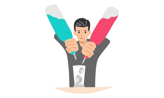 Barman masculin versant un cocktail un homme servant au bar