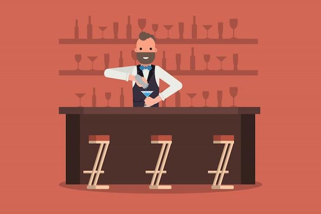 Barman souriant au travail avec shaker derrière vitrine