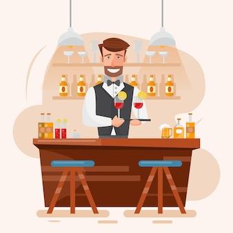 Barman tenant un cocktail et une boisson