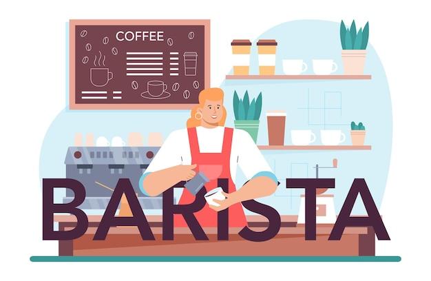 Barman en-tête typographique barista faisant une tasse de café chaud