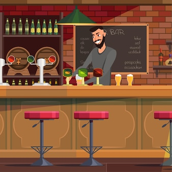 Barman travaillant dans un pub, souriant barman joyeux verser de la bière dans un verre.
