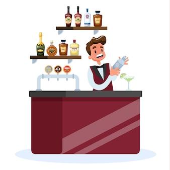 Barman en uniforme debout au comptoir