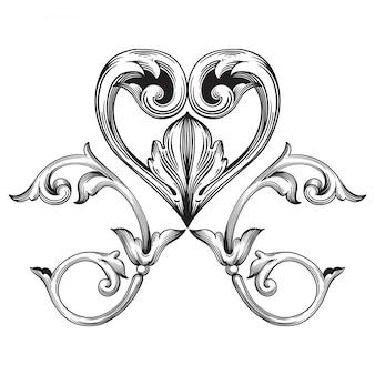 Baroque classique de l'élément vintage. élément de design décoratif calligraphie en filigrane.