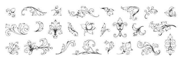 Baroque gravé. bordures ornementales florales victoriennes, éléments de cadre décoratif vintage. ensemble royal d'illustration vectorielle pour l'invitation de mariage et les cartes de voeux, ornements d'invitations romantiques