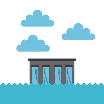 Barrage d'eau et nuages