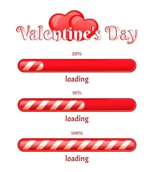 Barre de chargement de la saint-valentin sur fond blanc. les coeurs de vecteur sont rouges.