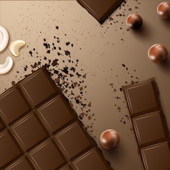 Barre de chocolat amer noir cassé de vecteur avec vue de dessus de noix de cajou et de macadamia sur une surface beige