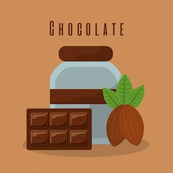 Barre de chocolat et bouteille de cacao