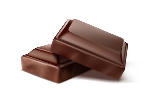 Barre de chocolat cassée. isolé.