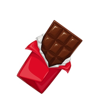 Barre de chocolat dans l'icône de l'emballage ouvert