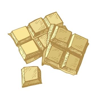Barre de chocolat d'esquisse de chocolat d'or cassée en morceaux