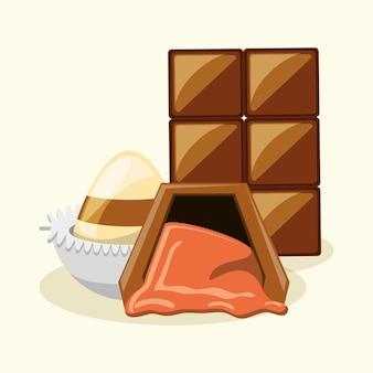 Barre de chocolat et truffes sur fond blanc